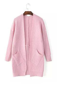 Vintage Pastel Pink Long Sleeve Pockets Knit Cardigan