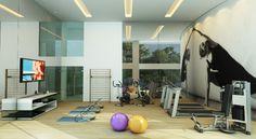 Na sala de fitness, é possível fazer exercícios sem sair de casa.