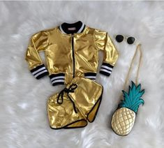 Set of cool-girl metallic Jacket Tops+Short Pant.**Rush order please contact us ** Processing time business day after payment . Kids Outfits Girls, Toddler Girl Outfits, Trendy Outfits, Formal Outfits, Rock Outfits, Emo Outfits, Kids Girls, Gold Bomber Jacket, Barbie Mode