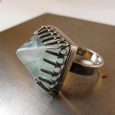 Ring | Julie Mauerer.  Sterling silver and fluorite.