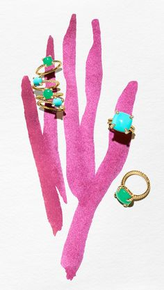 Châtelaine rings with chrysoprase or turquoise.