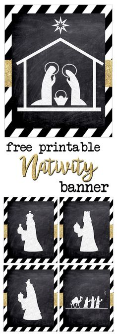 Print this silhouette banner for some easy and cute Christmas decor. These chalkboard nativity signs with gold embellishment are classy and fun. Church Christmas Decorations, Christmas Banners, Christmas Nativity, Christmas Art, Christmas Projects, Christmas Holidays, Christmas Concert, Christmas Background, Christmas Activities