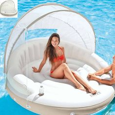 Adult-Pool-Float-Canopy-Floating-Bed-Lounger-Inflatable-Island-Large-Mattress