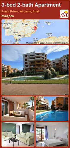 Apartment for Sale in Punta Prima, Alicante, Spain with 3 bedrooms, 2 bathrooms - A Spanish Life Apartments For Sale, Valencia, Portugal, Alicante Spain, Beautiful Pools, Marble Floor, Murcia, Dining Area, Palmas
