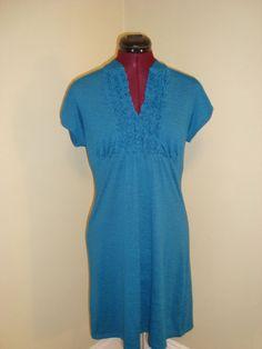 Heart Soul Sz L Dark Teal Ruffled Knit Empire Waist Dress W/ Cap Sleeves-Cute! #HeartSoul #EmpireWaist