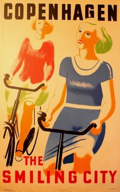 Copenhagen the Smiling City, 1936 - original vintage poster by Stockmarr listed on AntikBar.co.uk