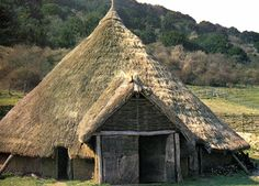 Reconstruction of a Celtic round house at Butser Hill.