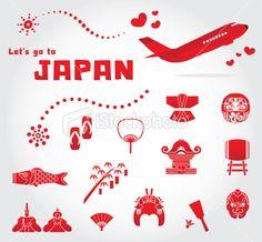 cute japan travel set Stock Illustration 23137182 - iStock