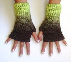 Fingerless gloves brown green  gloves cozy gloves by GlovesByJana, $18.00