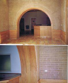 Arched doorway. Compressed earth blocks. CEBs