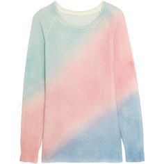The Elder Statesman Oversized color-block cashmere and silk-blend... ($1,320) ❤ liked on Polyvore featuring tops, sweaters, pink, pastel pink sweater, color block top, pink sweater, rainbow sweater and oversized tops