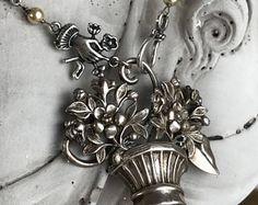 mood indigo  vintage assemblage necklace victorian edwardian