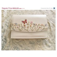 Purse Upcycled Flower Garden Embroidery Ivory by YoursOccasionally ($30) via Polyvore