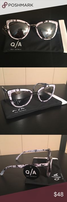 BNWT Quay Australia Marble My Girl Sunglasses Cat-eye SUNGLASSES by QUAY AUSTRALIA. In the color Marble/Black. Chunky frames. Moulded nose pads for added comfort. Light tinted lenses. Tapered arms with curved temple tips for a secure fit. Total UV Protection. 100% Polycarbonate. Urban Outfitters Accessories Sunglasses
