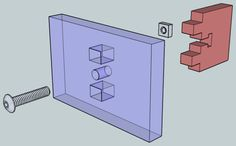 I have built a couple of laser-cut and CNC-routed kits, recently, that use this clever arrangement of tabs, slots, and a couple bits of cheap hardware to securely butt one panel against another at a right angle. One panel has a pair of rectangular ports with a round hole in between, and the other has a matching pair of tabs with a smaller T-shaped slot between. In use, the ports receive the tabs and a screw passes through the round hole and along the upright of the T to mate with a square…