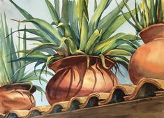 Painting by Lydia Greter of roof top pots at Nana's