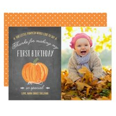 Fall Pumpkin | First Birthday Thank You with Photo Card - thank you gifts ideas diy thankyou
