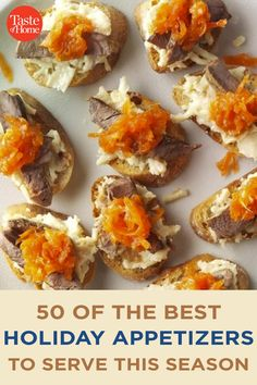 50 of the Best Holiday Appetizers to Serve This Season Best Holiday Appetizers, Holiday Fun, Holiday Recipes, Appetizer Ideas, Appetizer Recipes, Marinated Olives, Bacon Jam, Holiday Side Dishes, Crab Cakes