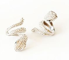 Crystal Silver Snake Cobra Ring
