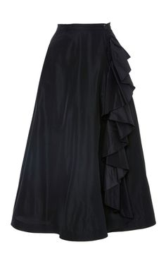 Black Taffeta A Line Skirt With Ruffles by TOME Now Available on Moda Operandi