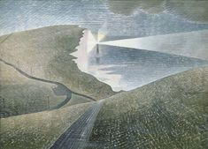Beachy Head is one of Eric Ravilious' stunning coastal views in East Sussex. Available online or in-store at The Art Pantry, Eastbourne, East Sussex. David Hockney, Landscape Art, Landscape Paintings, Landscape Drawings, Landscape Illustration, Landscape Prints, Landscape Architecture, Landscape Photography, Belle Tout Lighthouse
