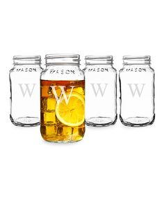 Love this 16-Oz. Initial Mason Jar - Set of Four on #zulily! #zulilyfinds