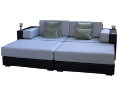 Siena Black Rattan Garden Daybed from Alexander Francis Garden Furniture - Our Siena Collection - Design Rattan Furniture Black Rattan Garden Furniture, Pallet Garden Furniture, Outdoor Furniture, Outdoor Decor, Outdoor Daybed, Grey Cushions, Siena, Blue Grey, Couch