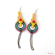Violin III earrings, they are third interpretation of the shape of the violin.
