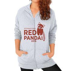 Red Panda Day Zip Hoodie (on woman)