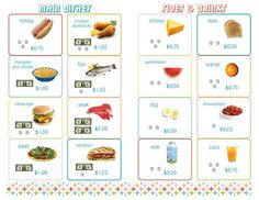 Menu printables for kids when they play restaurant....will help with math too!!!