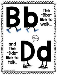 This poster is great for those students who are still having trouble with b and d reversals. Great for your visual learners! Just print, laminate, and post somewhere in your classroom. Preschool Literacy, Kindergarten Reading, Teaching Reading, Teaching Kids, Beginning Reading, First Grade Reading, Letter Activities, Kindergarten Activities, Phonics Rules