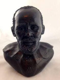 Vtg Hand Carved Terracotta African Man Head Bust Sculpture Folk Art Statue