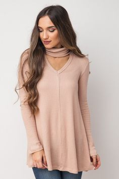 Blustery Afternoons Swing Top in Light Taupe