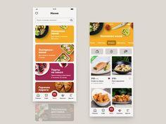 Kulinarium app, catalog by Oleg Toptalov on Dribbble Food Web Design, App Ui Design, User Interface Design, Ui Design Mobile, Mobile Ui Patterns, Mobile App Ui, Ui Design Inspiration, Catalog Design, Ui Animation