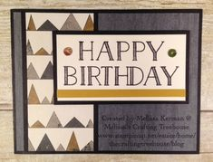 Clean and Simple Masculine Birthday card using Big on Birthdays Stamp Set by Stmapin' Up! and the Urban Underground Designer Series Paper. Created by Melissa Kerman @ Melissa's Crafting Treehouse