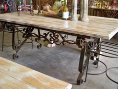 wooden tables with iron bases | Dining Table Base - Flat Wrought Iron Custom Base Shown W/ Custom Wood ...