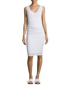 TC66R Velvet Orion Sleeveless Ruched-Waist Dress, White