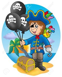 Chico pirata con globos que tienen la bandera del pirata. A su lado, el cofre del tesoro.