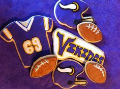 Minnesota Vikings football cookies by Mary's Cookiepalooza