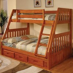 Discovery World Furniture Honey Bunk Bed Twin/Full Mission with Twin Trundle Bunk Beds Small Room, Cool Bunk Beds, Kids Bunk Beds, Small Rooms, Wooden Bunk Beds, Staircase Bunk Bed, Bunk Beds With Stairs, Childrens Bunk Beds, Bunk Bed Plans