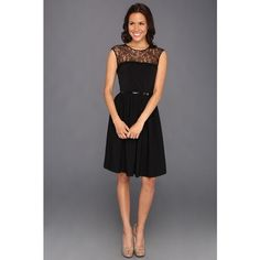 Calvin Klein Lace Illusion Yoke Dress ($128) found on Polyvore