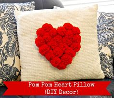 Pom+Pom+Heart+Pillow+{DIY+Decor} great idea for my plain cover Valentine Day Crafts, Valentine Decorations, Design Textile, Sewing Projects, Diy Projects, Happy Hearts Day, Heart Pillow, Ring Pillow, Valentine's Day Diy