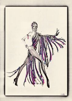black and purple fringed showgirl costume, Las Vegas, 1974