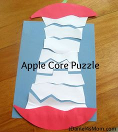 We tried this today and it was a total fail. I let iain cut his own pieces and he still had no interest in it beyond cutting it. Apple Core Puzzle Craft- Children glue the pieces of the core that match one on top of the other Preschool Apple Theme, Apple Activities, Fall Preschool, Preschool Activities, Preschool Apples, Thanksgiving Activities, Preschool Curriculum, Kindergarten Reading, Preschool Learning