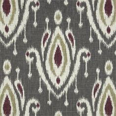 Large Ikat Print Gray Linen Look Drapery Fabric by Famous Maker - SW45420 - Fabric By The Yard At Discount Prices