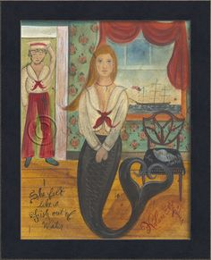 "12 3/4"""" x 15 3/4"""" black bevel-framed blonde mermaid like a """"Fish out of the Water"""". Think about grouping together a series of these special pieces of coastal art. From Kolene Spicher's wonderful m"
