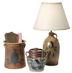love the dark pottery Old Crocks, Glass Jug, Glazes For Pottery, Earthenware, Stoneware, Primitive Decor, Country Decor, Primitives, Bowls