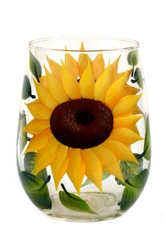 Colorful daisies and green leaves hand-painted encircling a quality 17 oz stemless wine glass.  Sealed and heat-cured for added durability.  Top-rack dishwasher