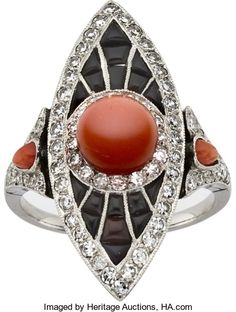 Estate Jewelry:Rings, Coral, Diamond, Black Onyx, Platinum Ring. ...
