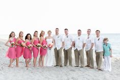 Coral Bridesmaid dresses! Here's my beach wedding, our colors were coral, beige, white and turquoise.